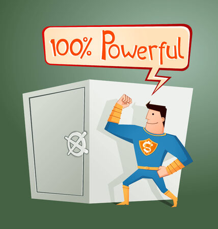 guard box: strong retro superhero guarding a deposit box and get a pose Illustration