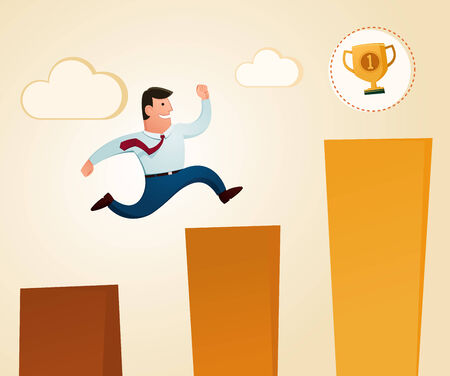 acknowledgement: jumping to get a trophy in the top level