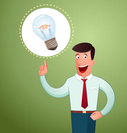 young man get an idea and smiling cheerfully Illustration