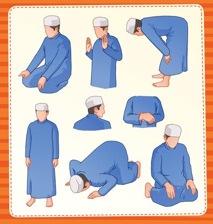 praying: set illustration of muslim praying position