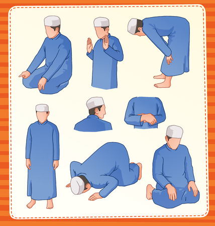 set illustration of muslim praying position