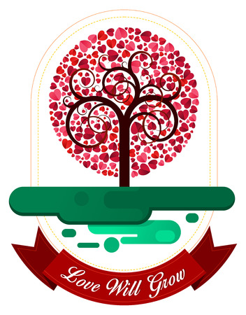 combination of heart and tree ornament for various purpose and event such as valentine and wedding Illustration