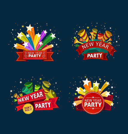 various colorful banner and tittle template for new year party event Ilustração
