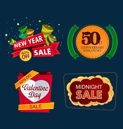 various colorful banner and tittle template for sale event