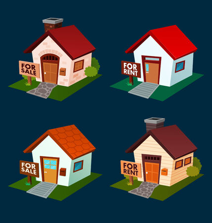 rent: isometric house illustration for rent and selling promotion