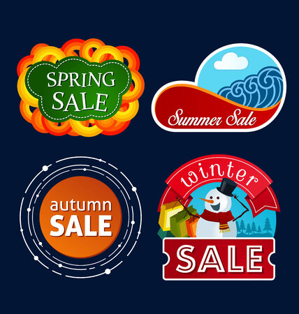 tittle: various colorful banner and tittle template for seasonal sale event Illustration