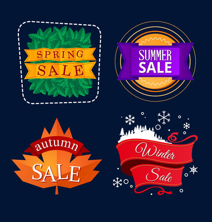 various colorful banner and tittle template for seasonal sale event Illustration