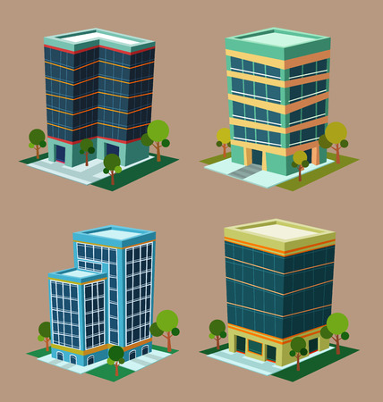 apartment       buildings: various cartoon style isometric building Illustration