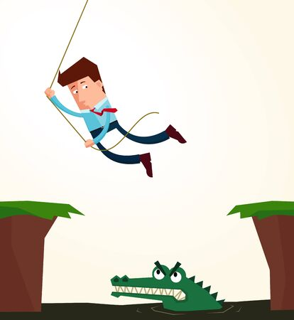 obstacle: young businessman hanging in the rope to avoid an obstacle