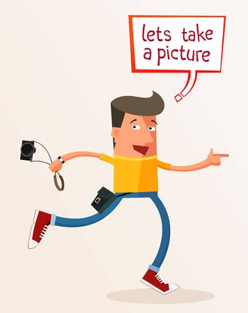 give and take: young photographer give an advice take a picture Illustration