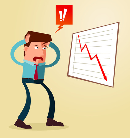 dissapointed: young businessman get shocked watching business result Illustration
