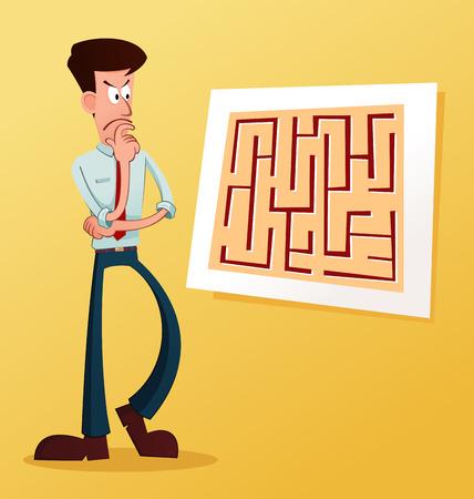 joven empresario a resolver el problema Ilustración de vector