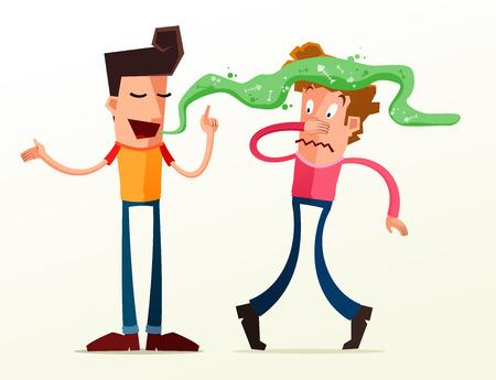 젊은 친구는 그의 친구의 구취 때문에 짜증납니다.