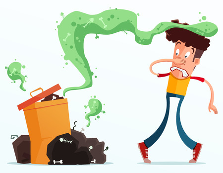 young man get annoyed because of stinky garbage Illustration