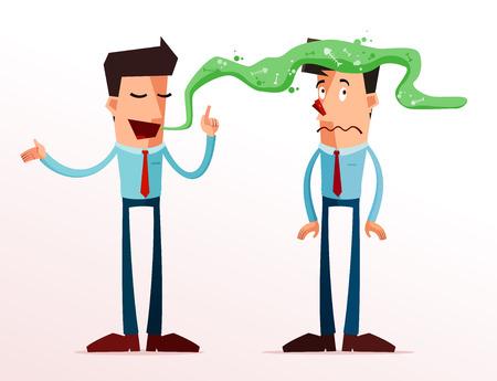 joven empresario se molesta por el mal aliento de su compañero