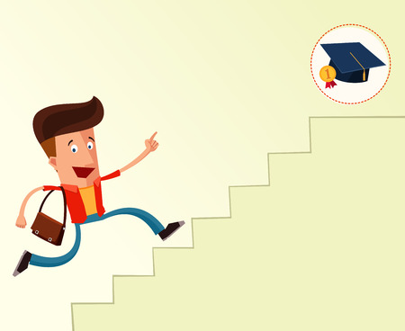 young student on a stairway to reach graduation Illustration
