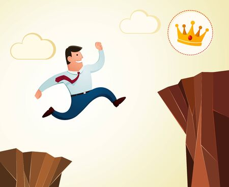 high jump: high jump over the cliff to achieve success Illustration