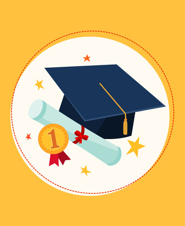 scholar: set illustration of graduation cap and awards