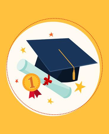 set illustration of graduation cap and awards
