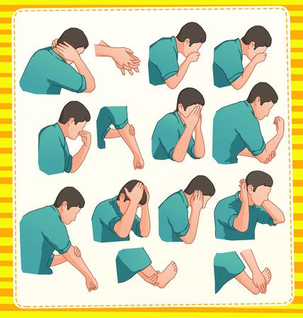 set illustration of muslim ablution position