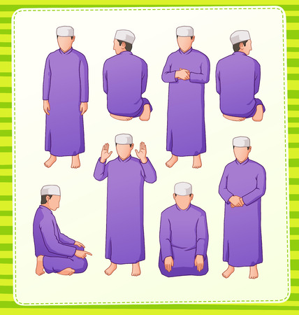 praying people: set illustration of muslim praying position