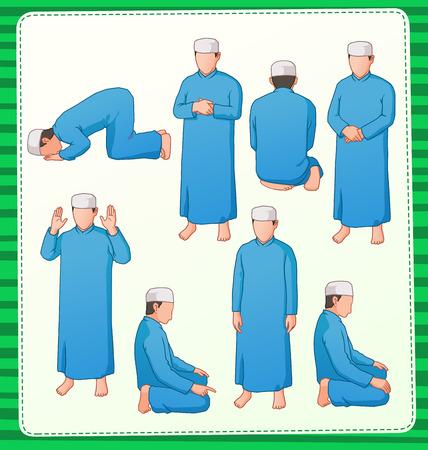 orando: conjunto de ilustración de musulmanes rezando posición