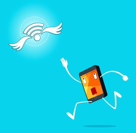 catch: smartphone trying to catch a signal Illustration