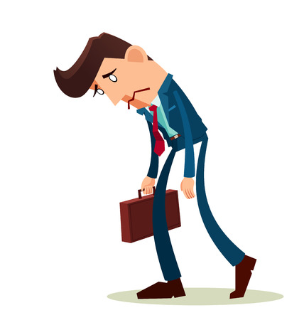 disheveled: frustrated young worker with a long face Illustration