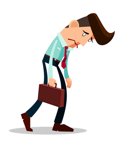 frustrated young worker with a long face Illustration