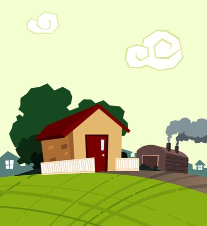 family outside house: small house in the morning little village Illustration