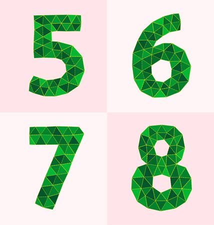 tittle: collection of colorful polygonal number Illustration