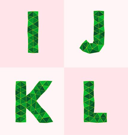 L: collection of colorful polygonal font