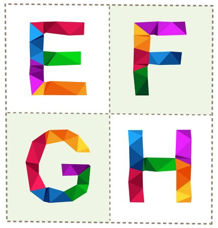 tittle: colorful polygonal font for various use