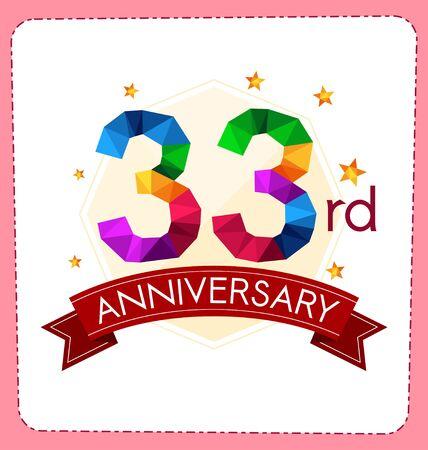 anniversaire: coloré polygonale logo Numéro anniversaire
