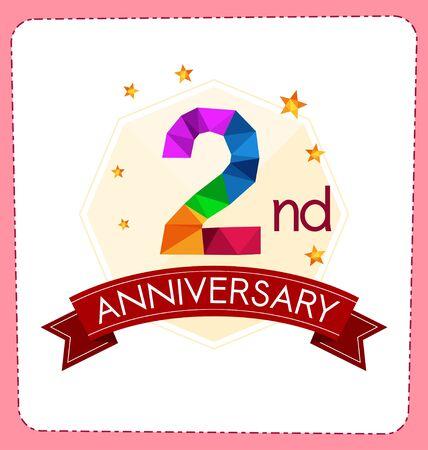 aniversario: colorido poligonal logo aniversario número