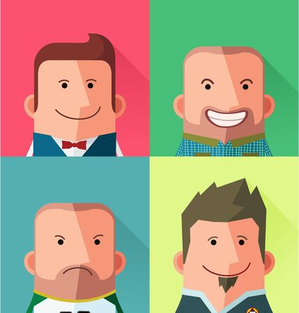 people  male: flat style male avatar character design