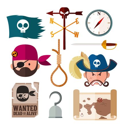 gallow: flat style pirate illustration for various needs