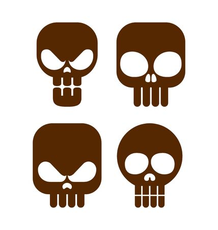 deadly danger sign: collection flat style skull icon