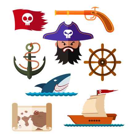 pirate crew: flat style pirate illustration for various needs