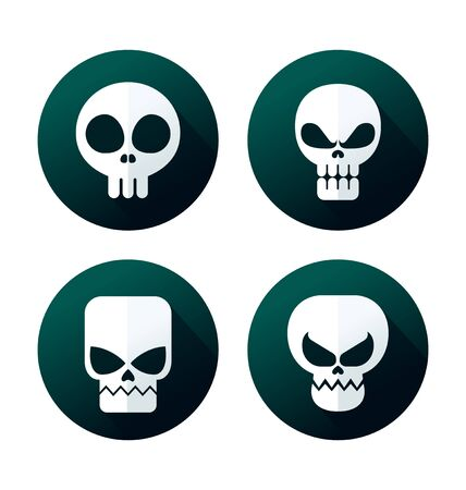 deadly poison: flat style skull icon collection Illustration
