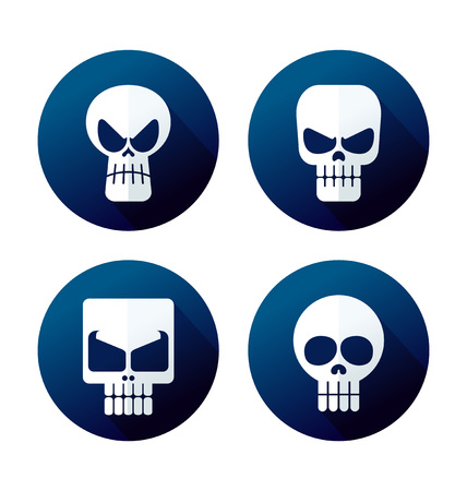 deadly danger sign: flat style skull icon collection Illustration