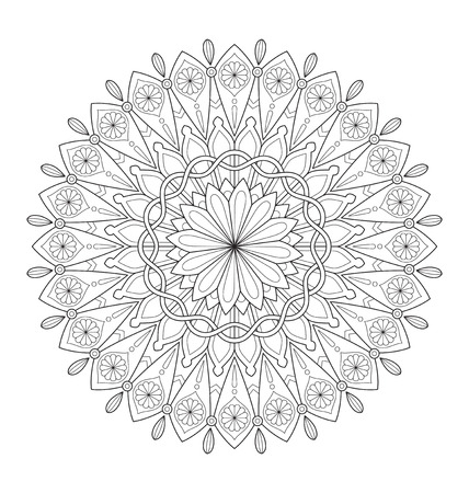 spiritual meditation creation: Decorative mandala illustration for adult coloring, well arranged group and easy to edit