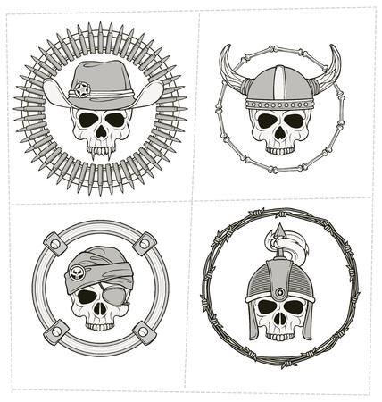mercenary: monochrome skull illustration for various use