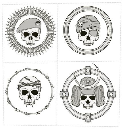 victim war: monochrome skull illustration for various use