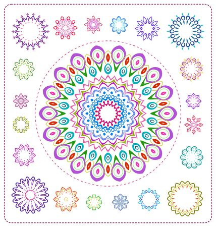 ornaments floral: set of colorful mandala illustration in vector format for various use