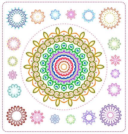 spiritual meditation creation: set of colorful mandala illustration in vector format for various use