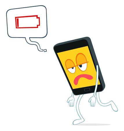 weak: humanized smartphone walking weak from loss of power