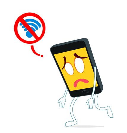 humanized smartphone walking weak from loss of internet signal