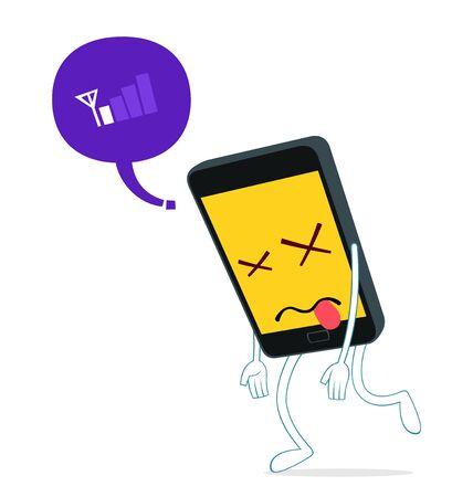 upset: humanized smartphone walking weak from loss of signal Illustration