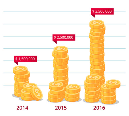 annotation: stack of gold coins with annotation vector illustration for business infographic Illustration